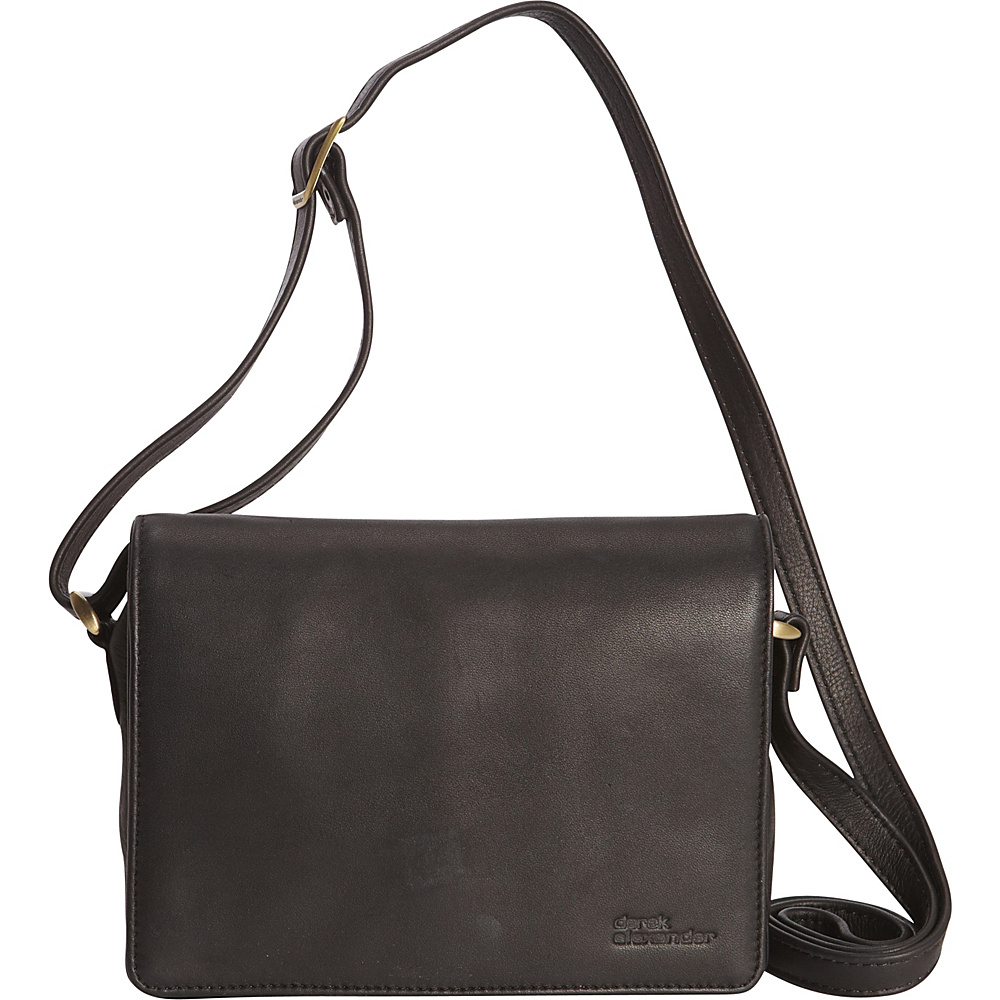 Derek Alexander Small 3/4 Flap with Multi Compartment Crossbody Black - Derek Alexander Leather Handbags