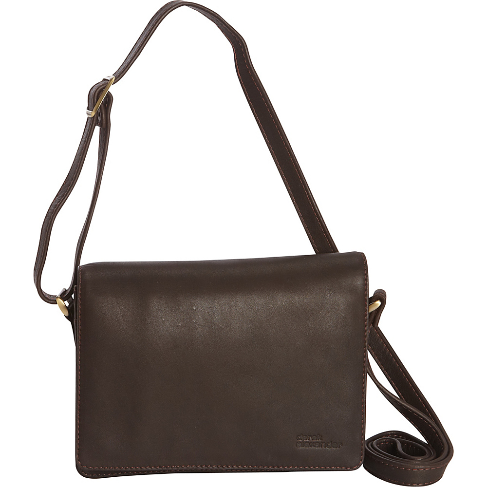 Derek Alexander Small 3/4 Flap with Multi Compartment Crossbody Brown - Derek Alexander Leather Handbags