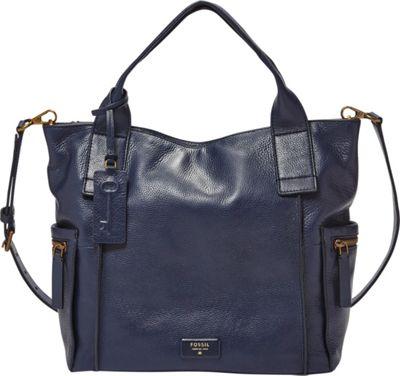 Fossil Vickery Satchel Midnight Navy - Fossil Leather Handbags