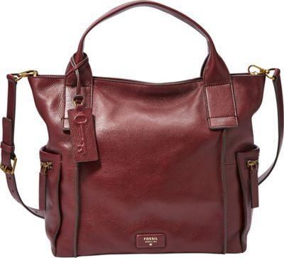 Fossil Vickery Satchel Maroon - Fossil Leather Handbags