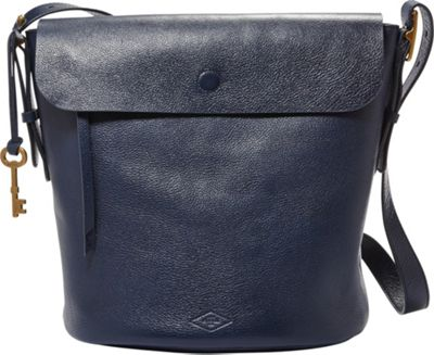 Fossil Haven Bucket Bag Midnight Navy - Fossil Leather Handbags