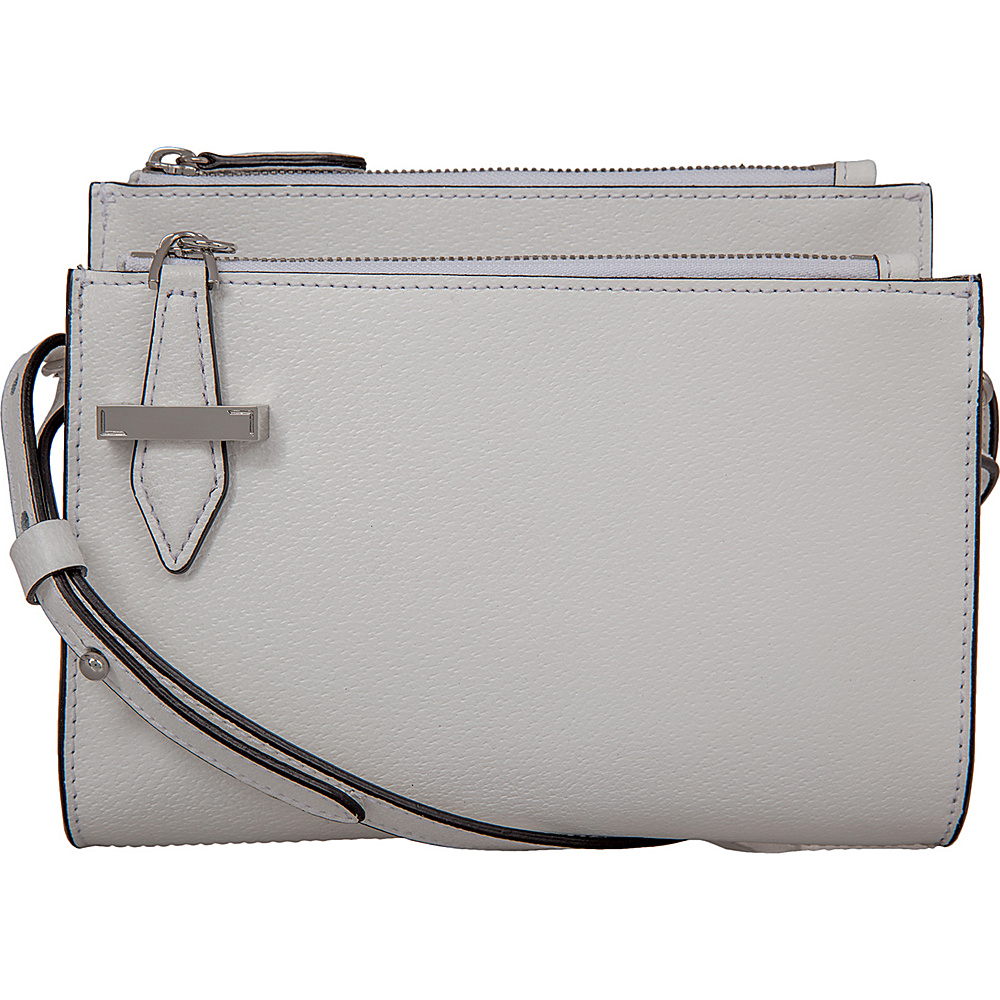 Lodis Stephanie Trisha Double Zip Wallet on a String with RFID Protection White - Lodis Leather Handbags - Handbags, Leather Handbags