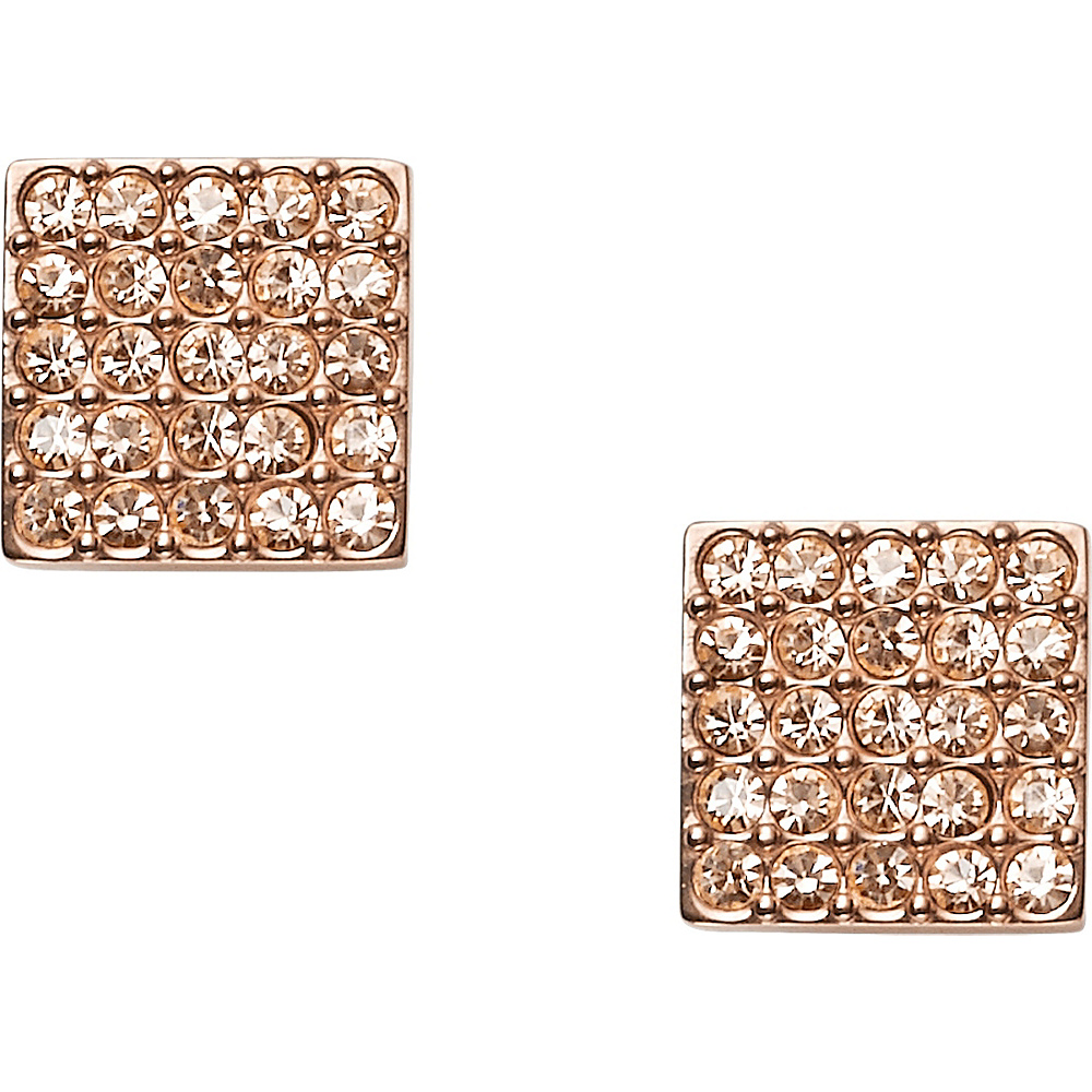 Fossil Pave Square Earrings Rose Gold - Fossil Other Fashion Accessories - Fashion Accessories, Other Fashion Accessories