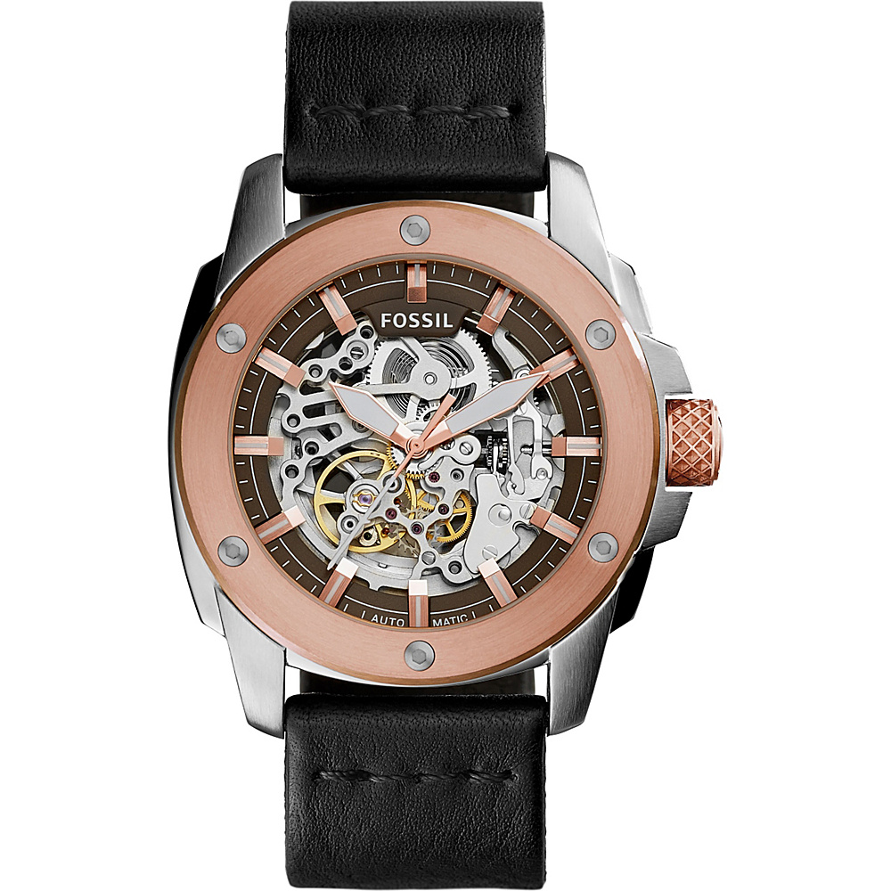 Fossil Modern Machine Automatic Leather Watch Black - Fossil Watches - Fashion Accessories, Watches
