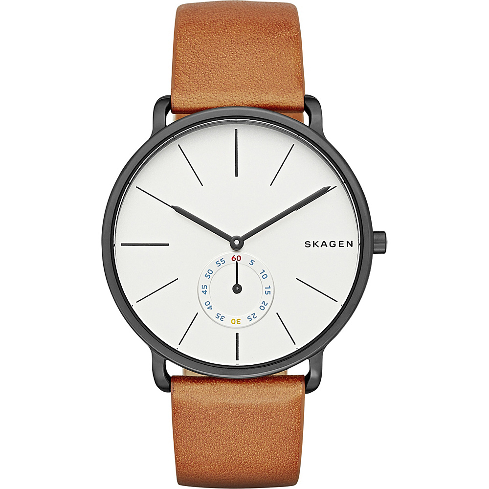 Skagen Hagen Multifunction Leather Watch Brown Gunmetal Skagen Watches