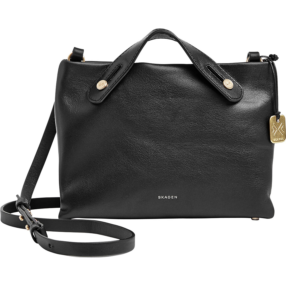 Skagen Mikkeline Leather Mini Satchel Black Skagen Leather Handbags