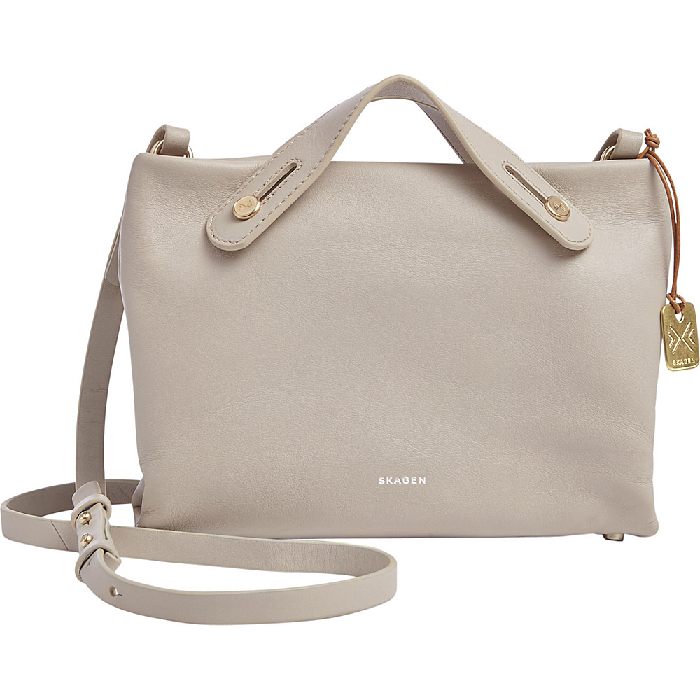 Skagen Mikkeline Leather Mini Satchel Beige Skagen Leather Handbags