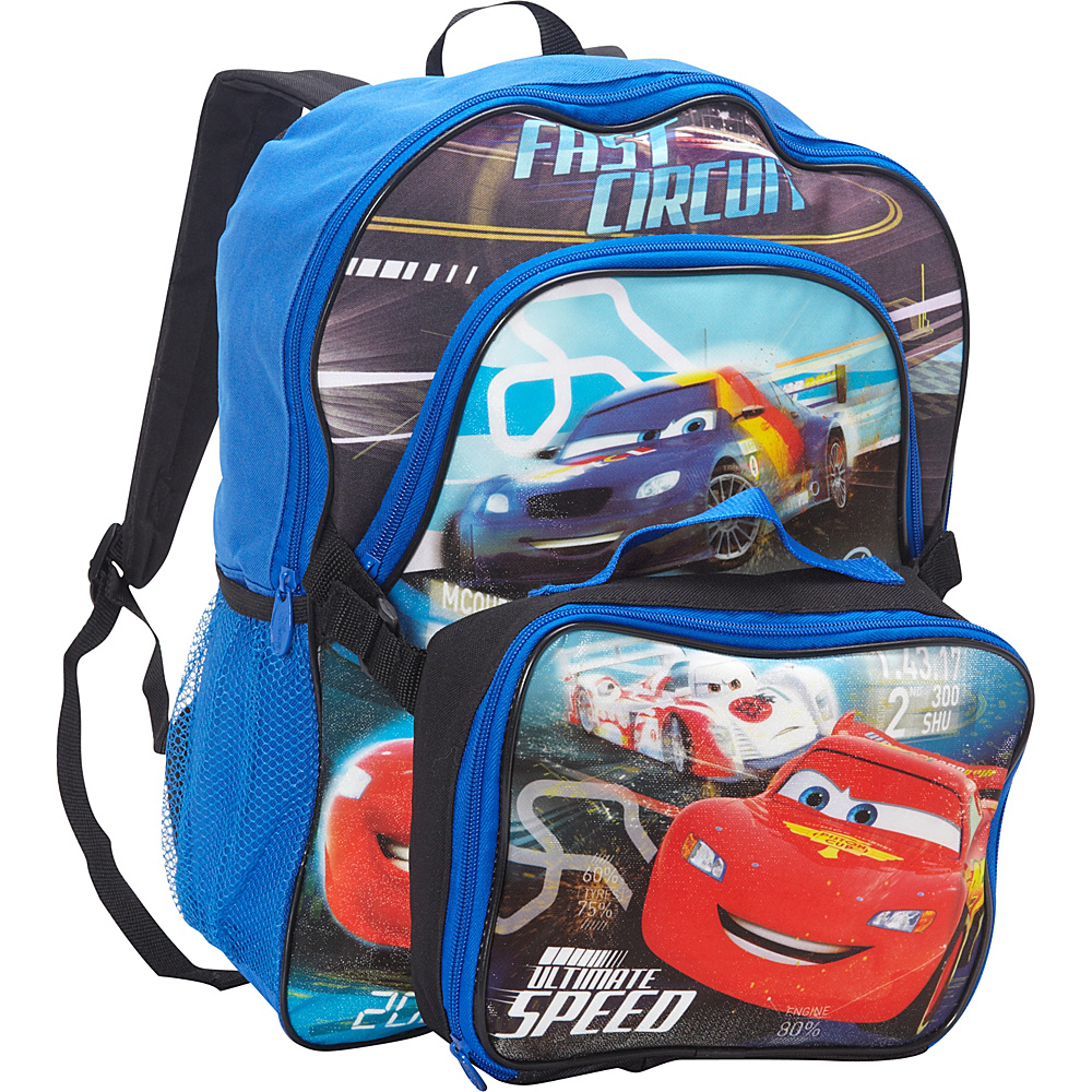 Disney Cars Backpack with Lunch Kit Blue - Disney School & Day Hiking Backpacks