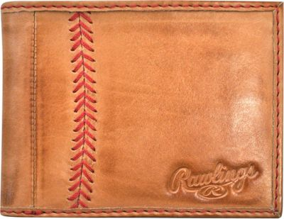 Rawlings Baseball Stitch Bi-Fold Wallet Tan - Rawlings Men's Wallets