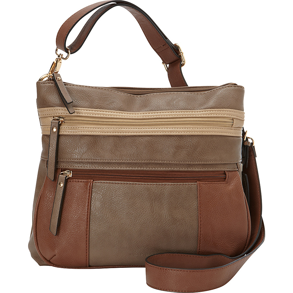 Hush Puppies Multi-Compartment Crossbody Taupe Multi - Hush Puppies Manmade Handbags