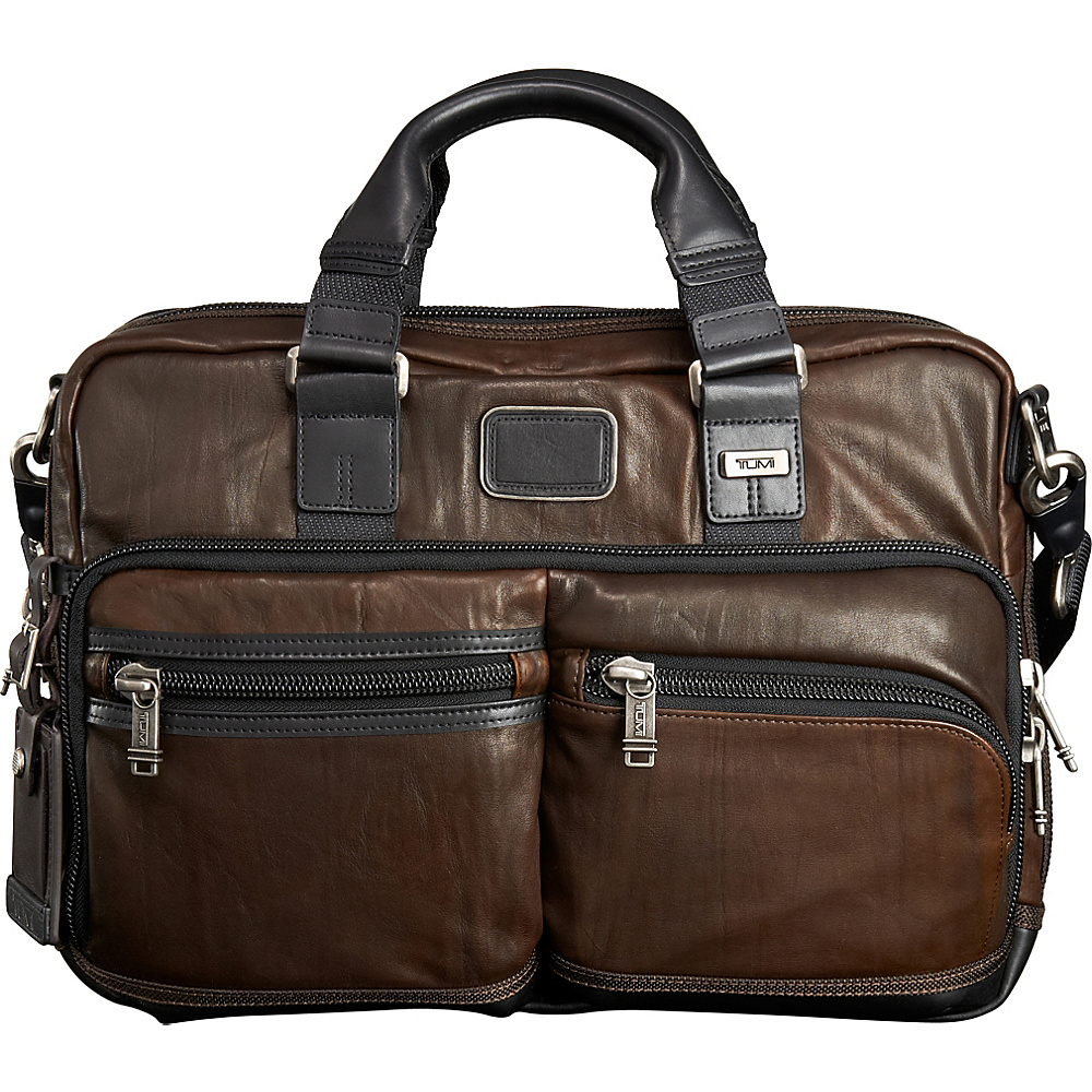 Tumi Alpha Bravo Andersen Slim Leather Commuter Brief Dark Brown Tumi Non Wheeled Business Cases