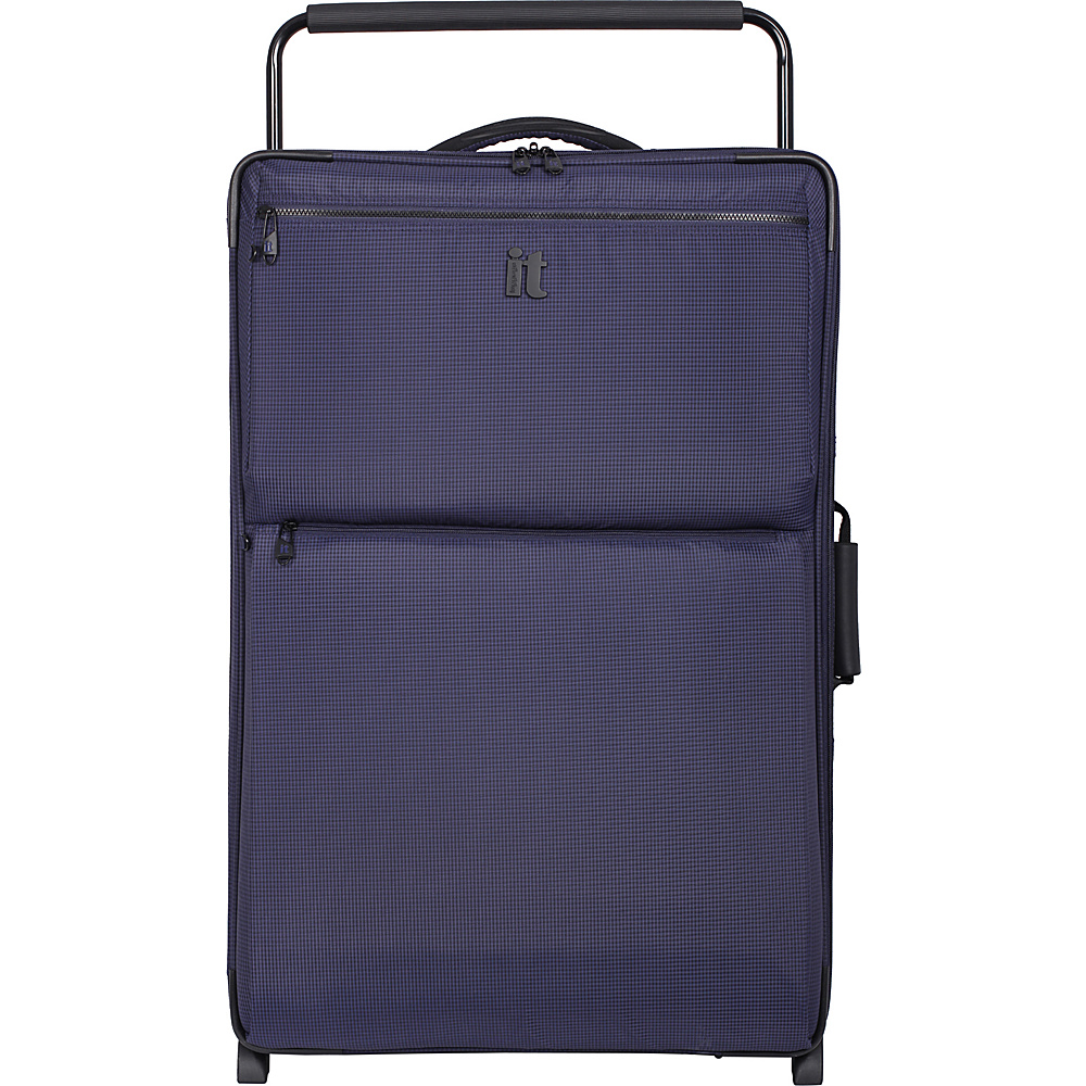 it luggage Worlds Lightest Los Angeles 2 Wheel 32.5 inch Upright Navy Blue 2 Tone it luggage Softside Checked