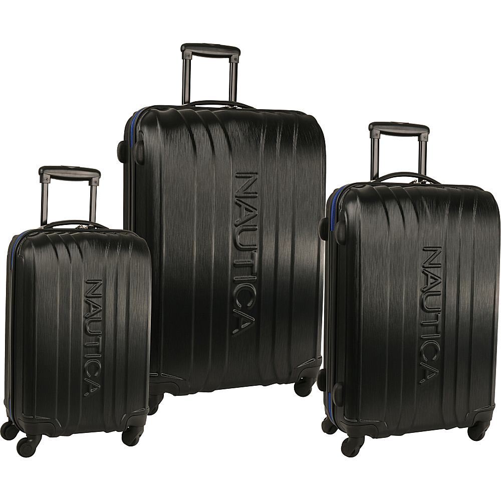 Nautica True Winds Three Piece Set Black/Cobalt Blue - Nautica Luggage Sets
