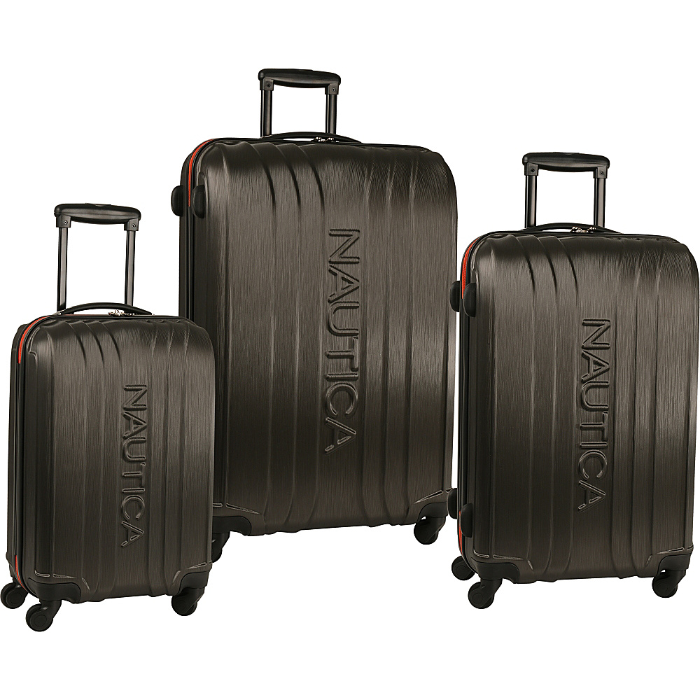 Nautica True Winds Three Piece Set Gunmetal/Mack Orange - Nautica Luggage Sets