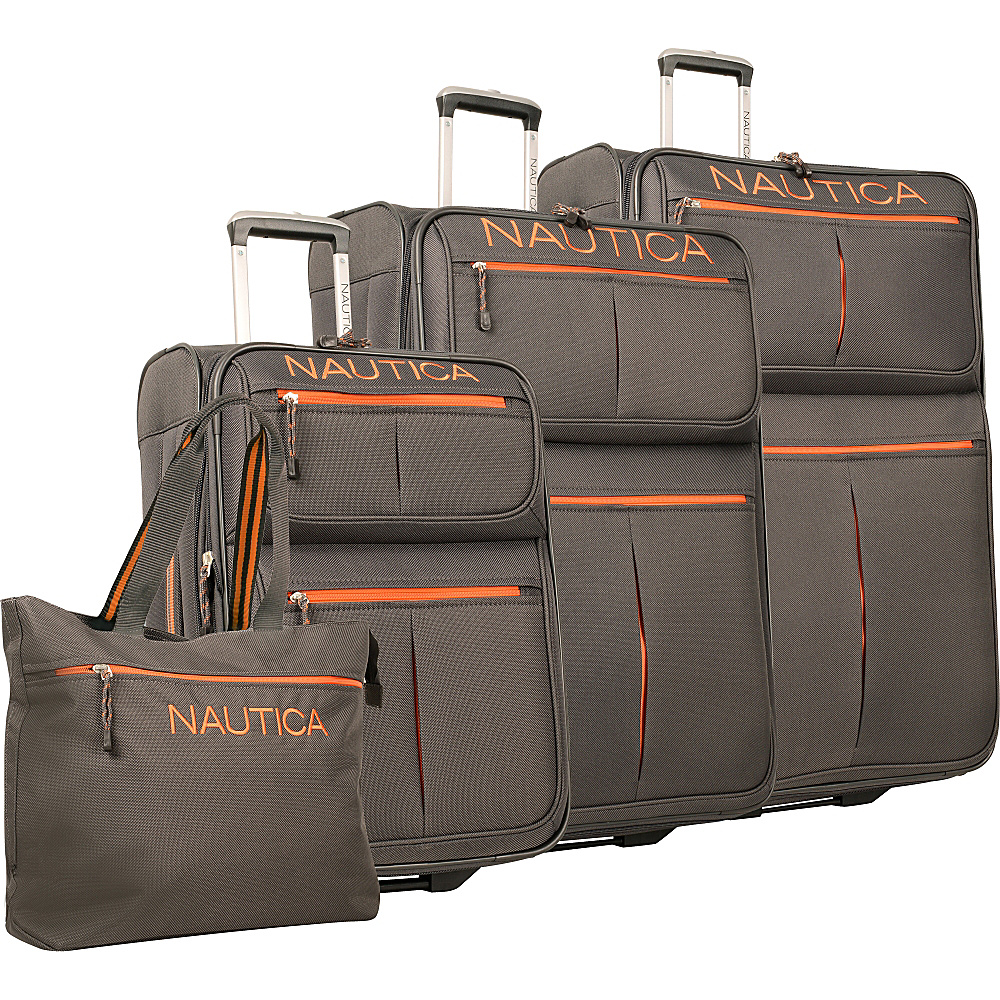 Nautica Maritime 2 Four Piece Luggage Set Charcoal Orange Nautica Luggage Sets