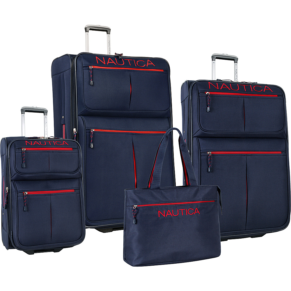 Nautica Maritime 2 Four Piece Luggage Set Navy/Red - Nautica Luggage Sets