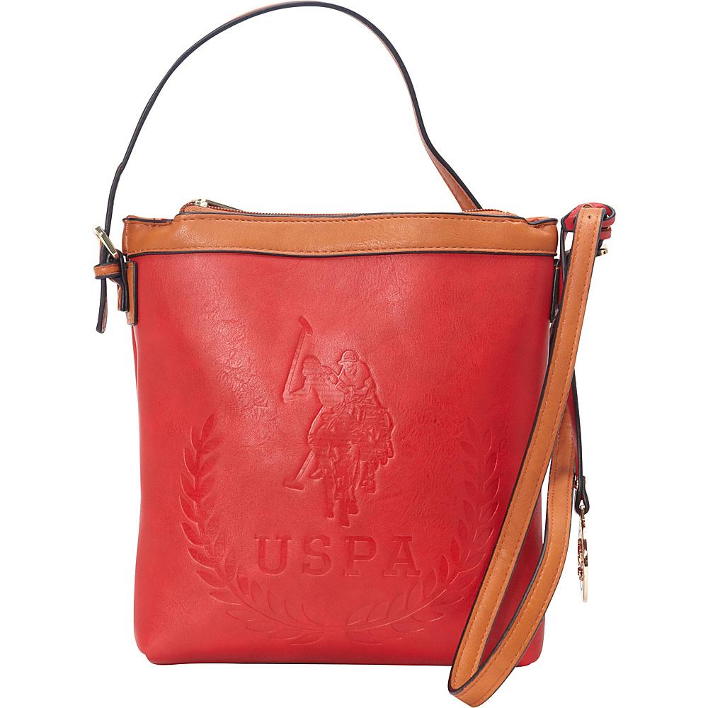 0ce2e36f1af8 U.S. Polo Association Logo BILLY GROUP Signature Embossed Crossbody Red  Cognac - U.S. Polo Association