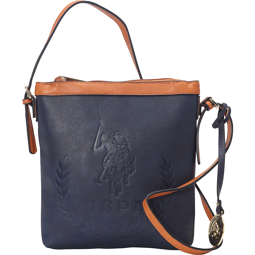 1dfc91226c12 U.S. Polo Association Logo BILLY GROUP Signature Embossed Crossbody  Navy Cognac - U.S. Polo Association