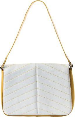 BODHI Chevron Stitch Shoulder Bag White & Indian Yellow - BODHI Leather Handbags