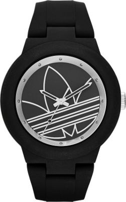 Image of adidas originals Watches Aberdeen Three Hand Silicone Watch Black/Silver - adidas originals Watches Watches