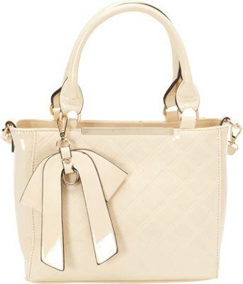 SW Global Carol Patent Satchel Bag Beige - SW Global Manmade Handbags