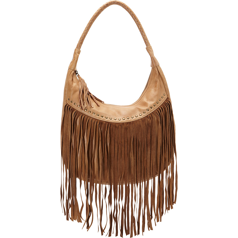 Scully Soft Leather Fringe Hobo Caramel Scully Leather Handbags