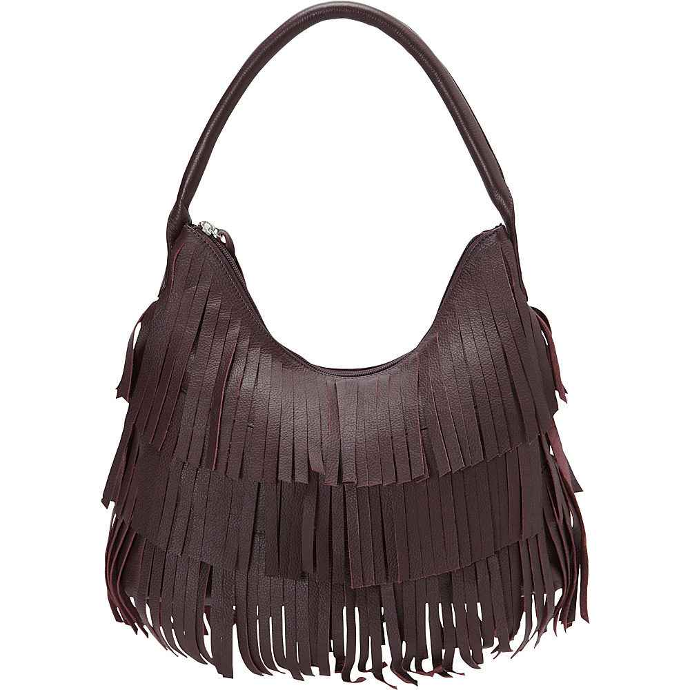 Scully Leather Fringe Hobo Plum Scully Leather Handbags