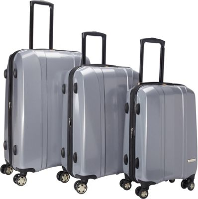 McBrine Luggage A719  Expandable 3pc Luggage Set Silver -...