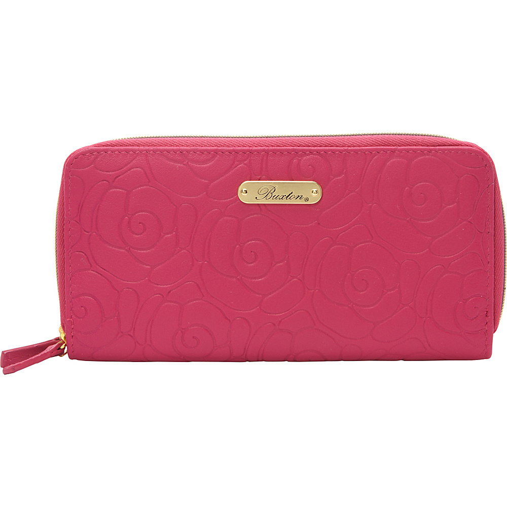 Buxton Rose Garden Slim Double Zip Fuchsia Pink - Buxton Womens Wallets - Women's SLG, Women's Wallets