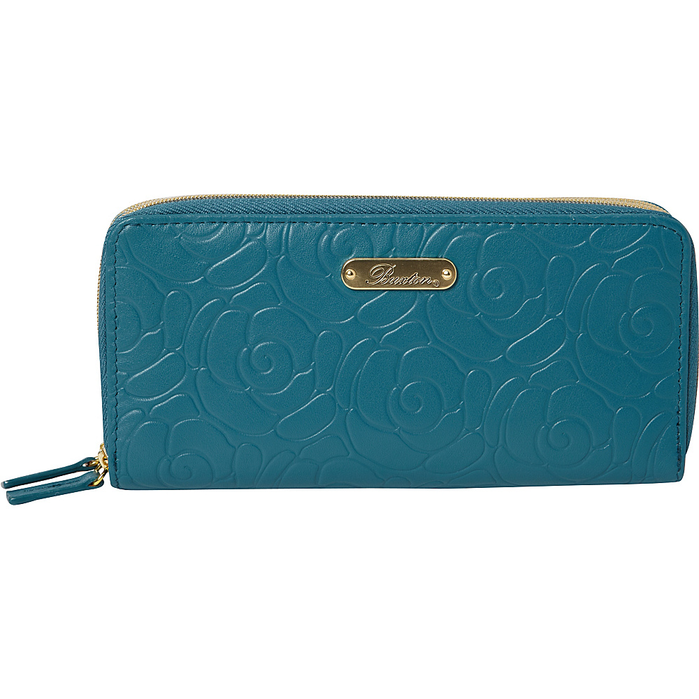 Buxton Rose Garden Slim Double Zip Dragonfly - Buxton Womens Wallets - Women's SLG, Women's Wallets