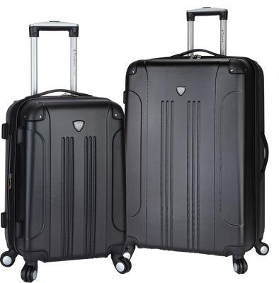 Travelers Club Luggage Chicago 2PC Hardside Expandable Spinner Luggage Set Black - Travelers Club Luggage Luggage Sets