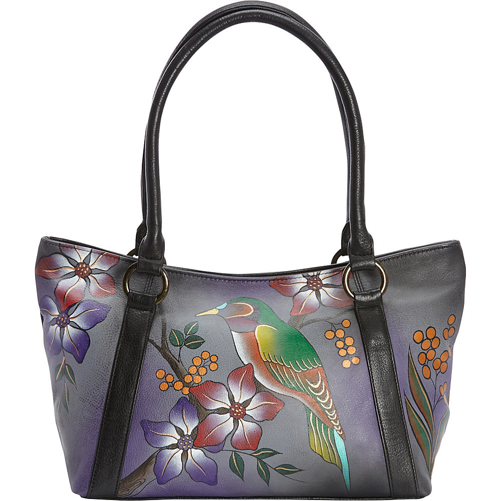 ANNA by Anuschka Hand Painted Medium Tote Bird on Branch Grey - ANNA by Anuschka Leather Handbags