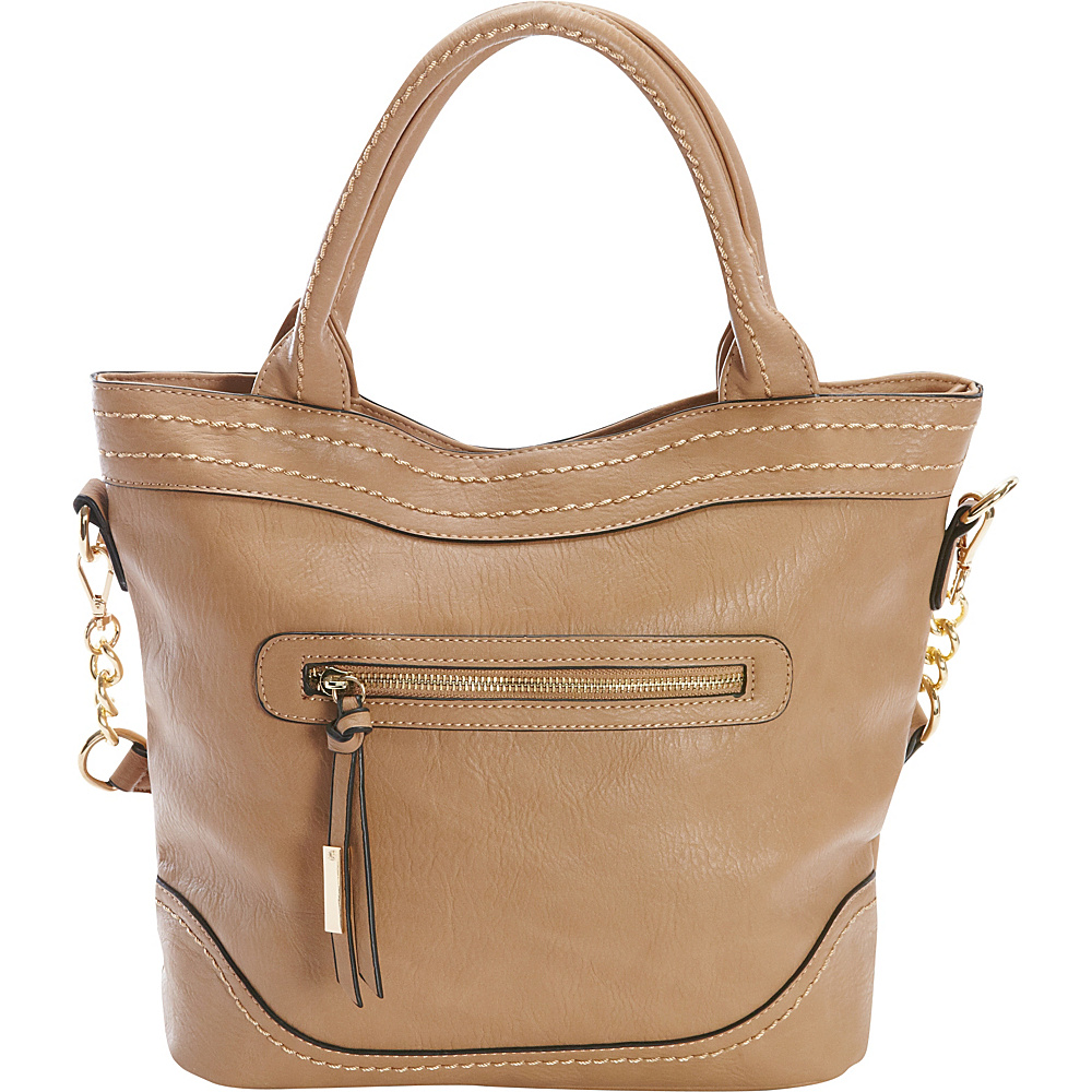 Diophy Chain Shoulder Tote Brown Diophy Manmade Handbags