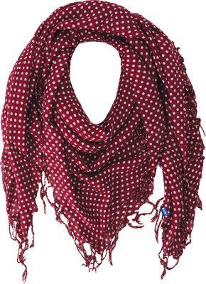 Keds Square Scarf with Fringe Beet Red Dots - Keds Hats/Gloves/Scarves