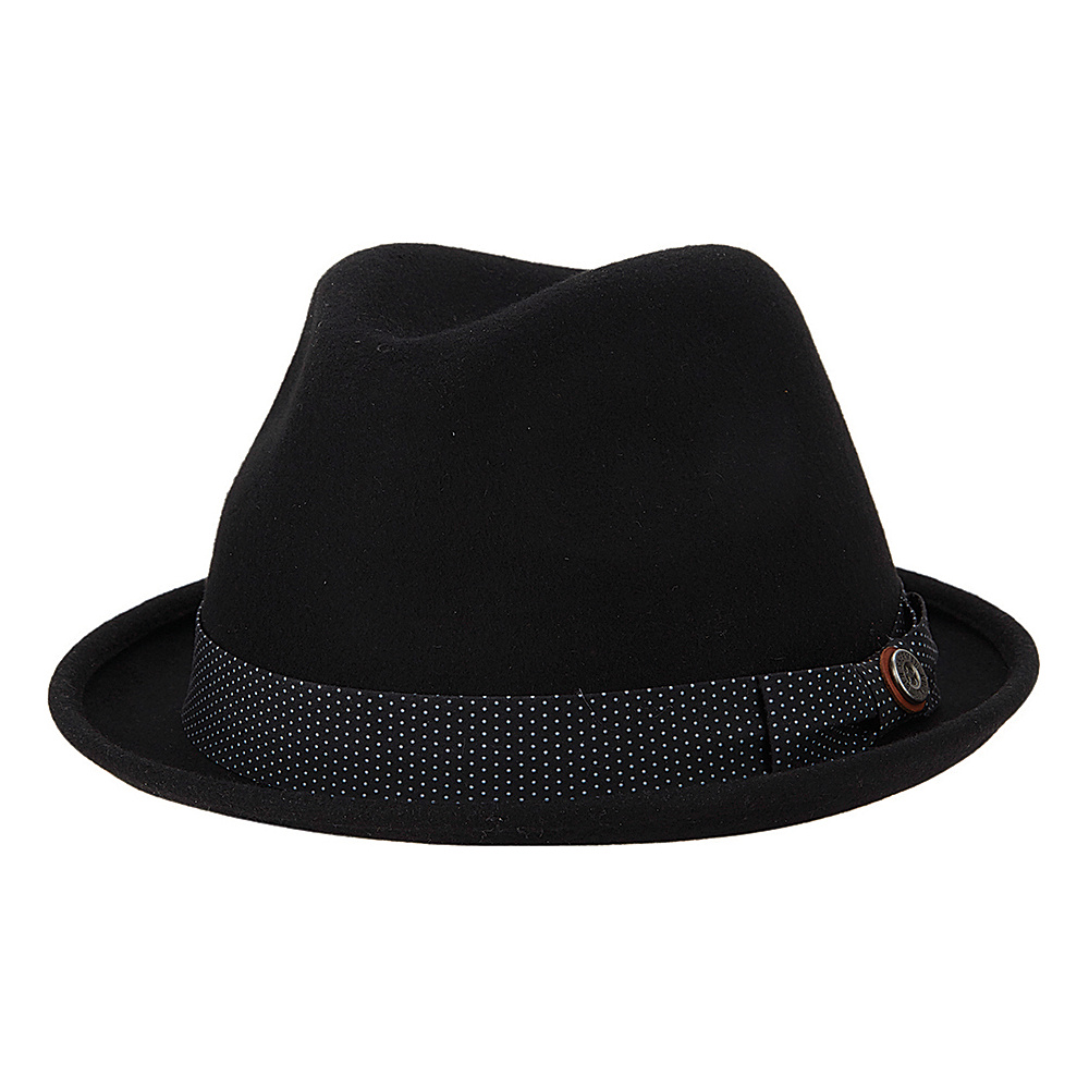 Ben Sherman Blocked Wool Felt Fedora Black - Small/Medium - Ben Sherman Hats/Gloves/Scarves