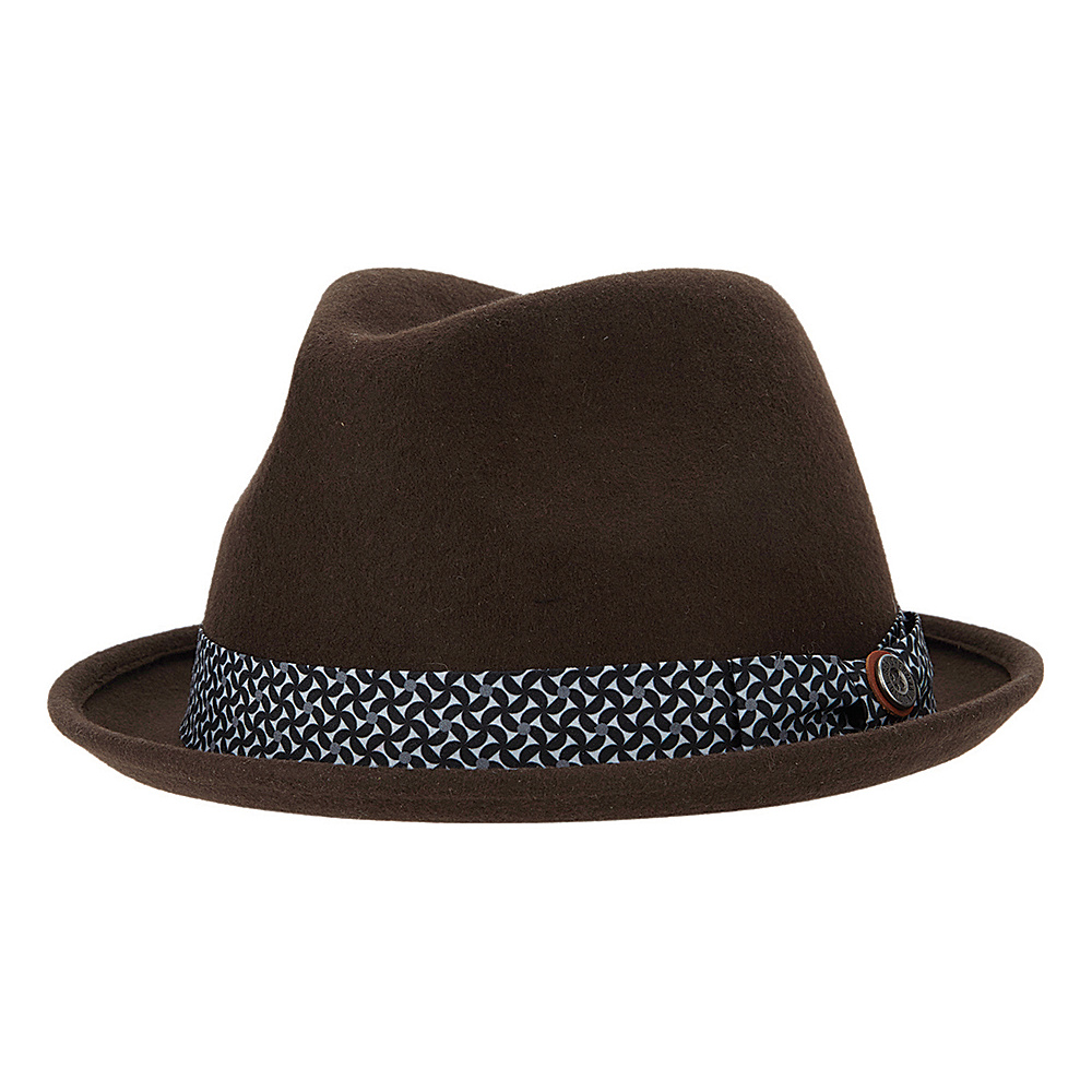 Ben Sherman Blocked Wool Felt Fedora Coffee - Small/Medium - Ben Sherman Hats/Gloves/Scarves