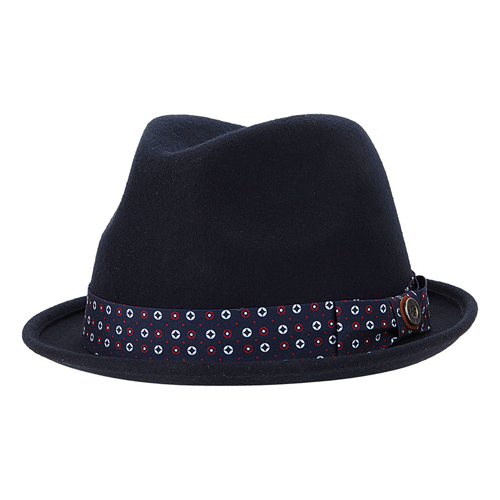 Ben Sherman Blocked Wool Felt Fedora Navy Blazer - Small/Medium - Ben Sherman Hats/Gloves/Scarves