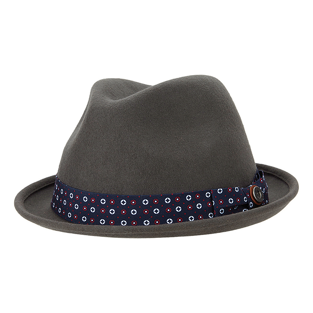 Ben Sherman Blocked Wool Felt Fedora L/XL - Smoked Pearl - Ben Sherman Hats/Gloves/Scarves