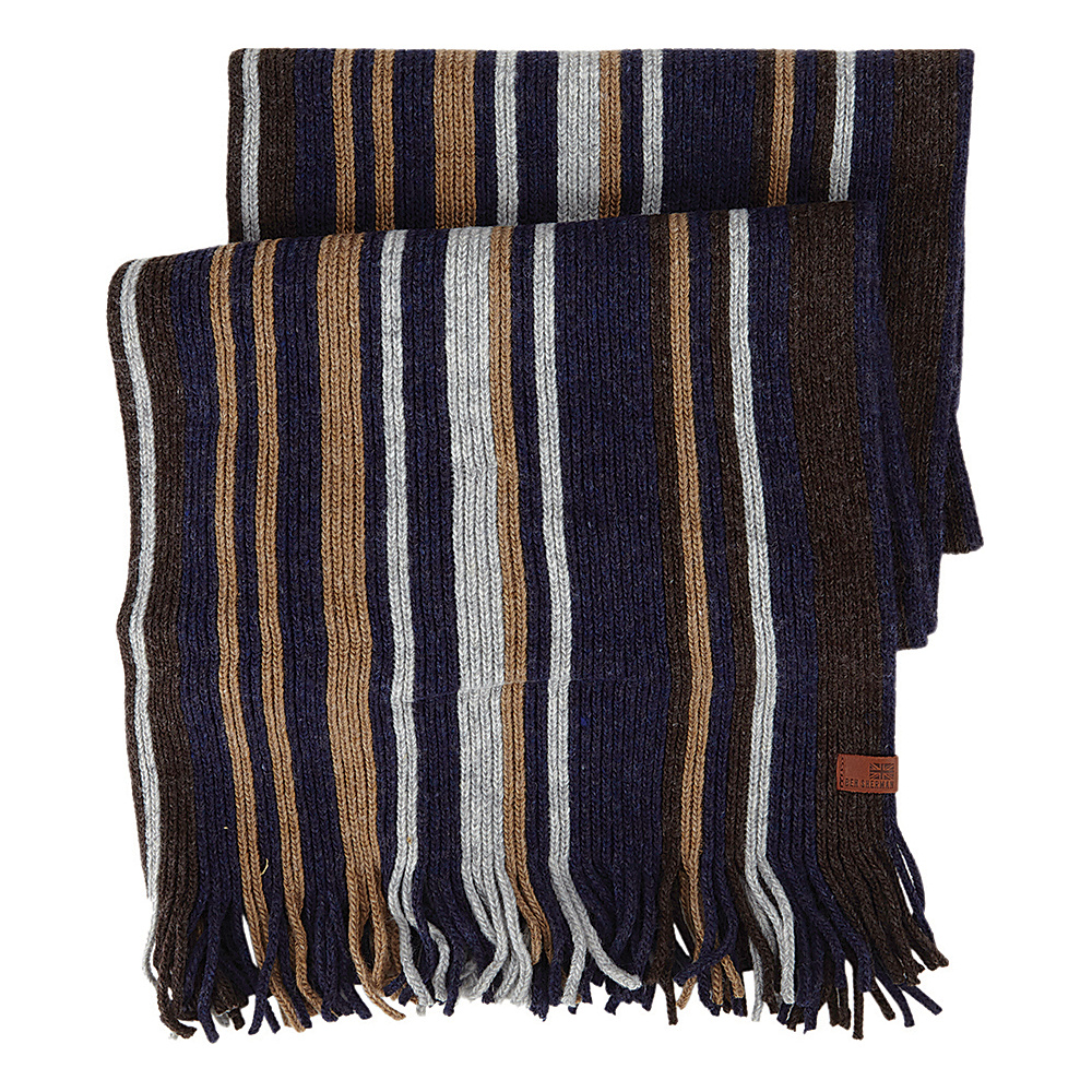 Ben Sherman Vertical Stripe Knit Scarf Coffee Ben Sherman Hats Gloves Scarves