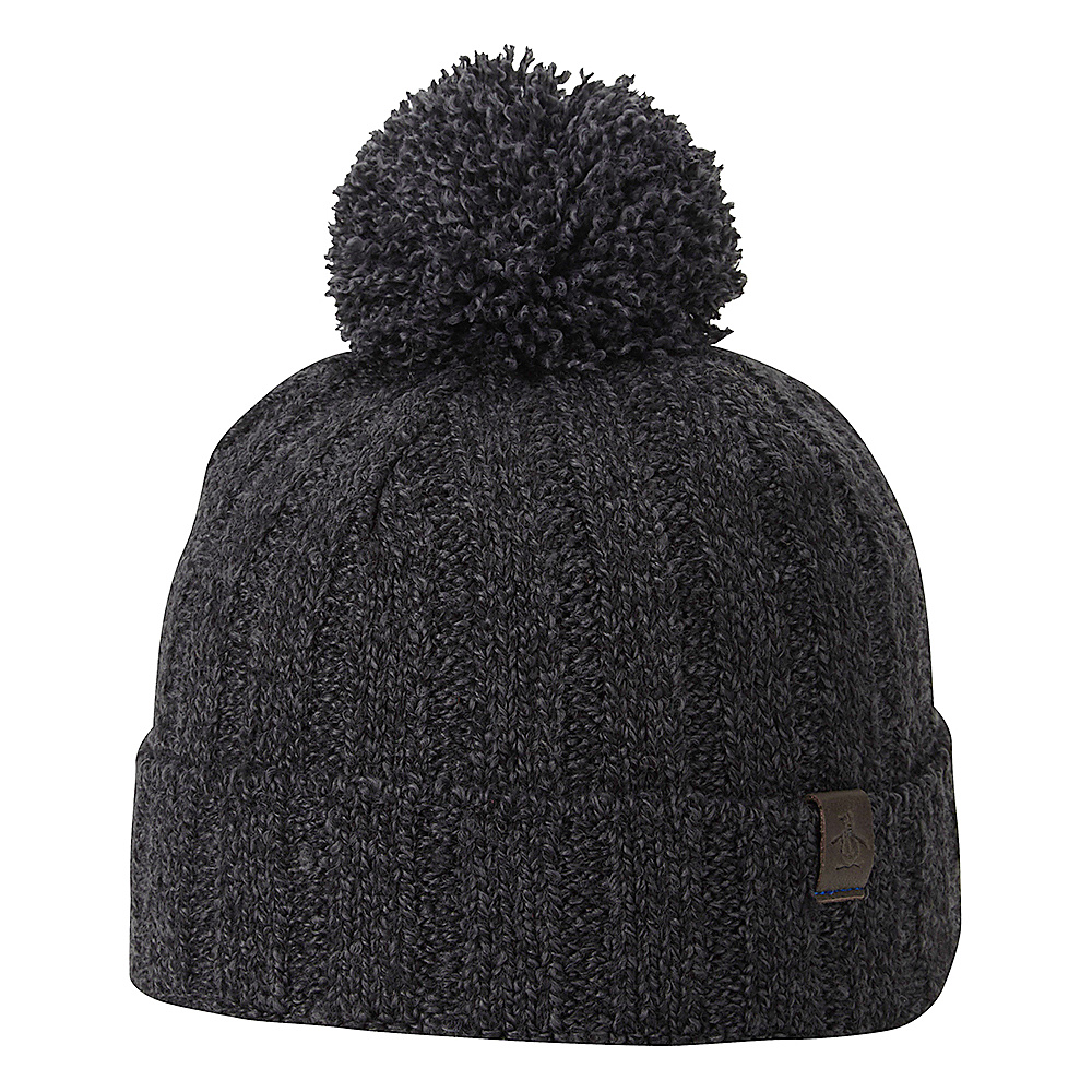 Original Penguin Grimes Watchcap with Pom Black Original Penguin Hats Gloves Scarves