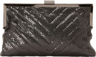 La Regale Chevron Quilted Chainmail Pouch Clutch Pewter - La Regale Evening Bags