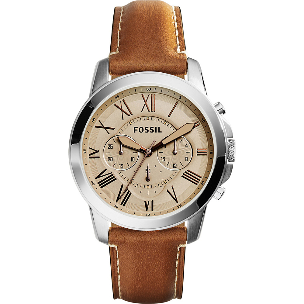Fossil Grant Chronograph Leather Watch Light Brown - Fossil Watches - Fashion Accessories, Watches