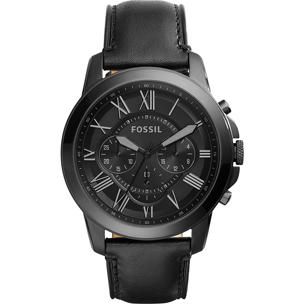 Fossil Grant Chronograph Leather Watch Black - Fossil Watches - Fashion Accessories, Watches