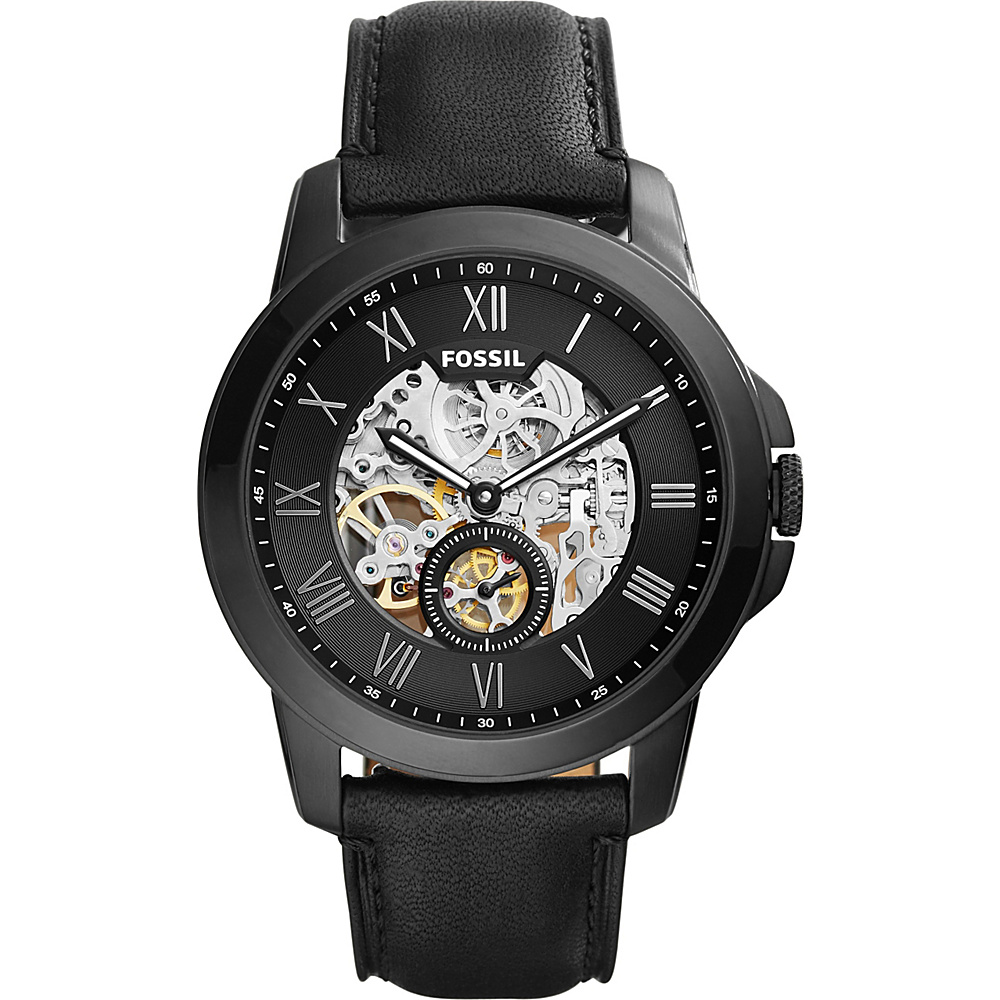 Fossil Grant Automatic Leather Watch Black - Fossil Watches - Fashion Accessories, Watches