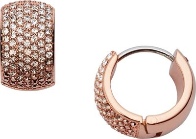 Fossil Ombre Glitz Huggie Earrings Rose Gold - Fossil Jewelry