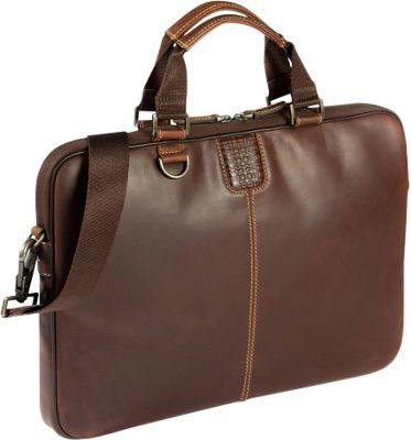 Boconi Bryant Sleeve Brief Antique Mahogany with Houndstooth - Boconi Non-Wheeled Business Cases