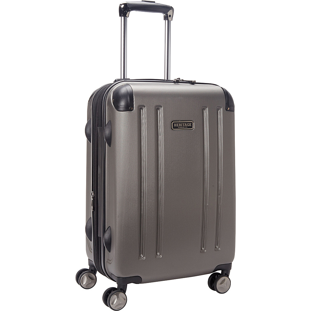 Heritage O Hare 20 Expandable Carry On 8 Wheel Spinner Silver Heritage Hardside Carry On
