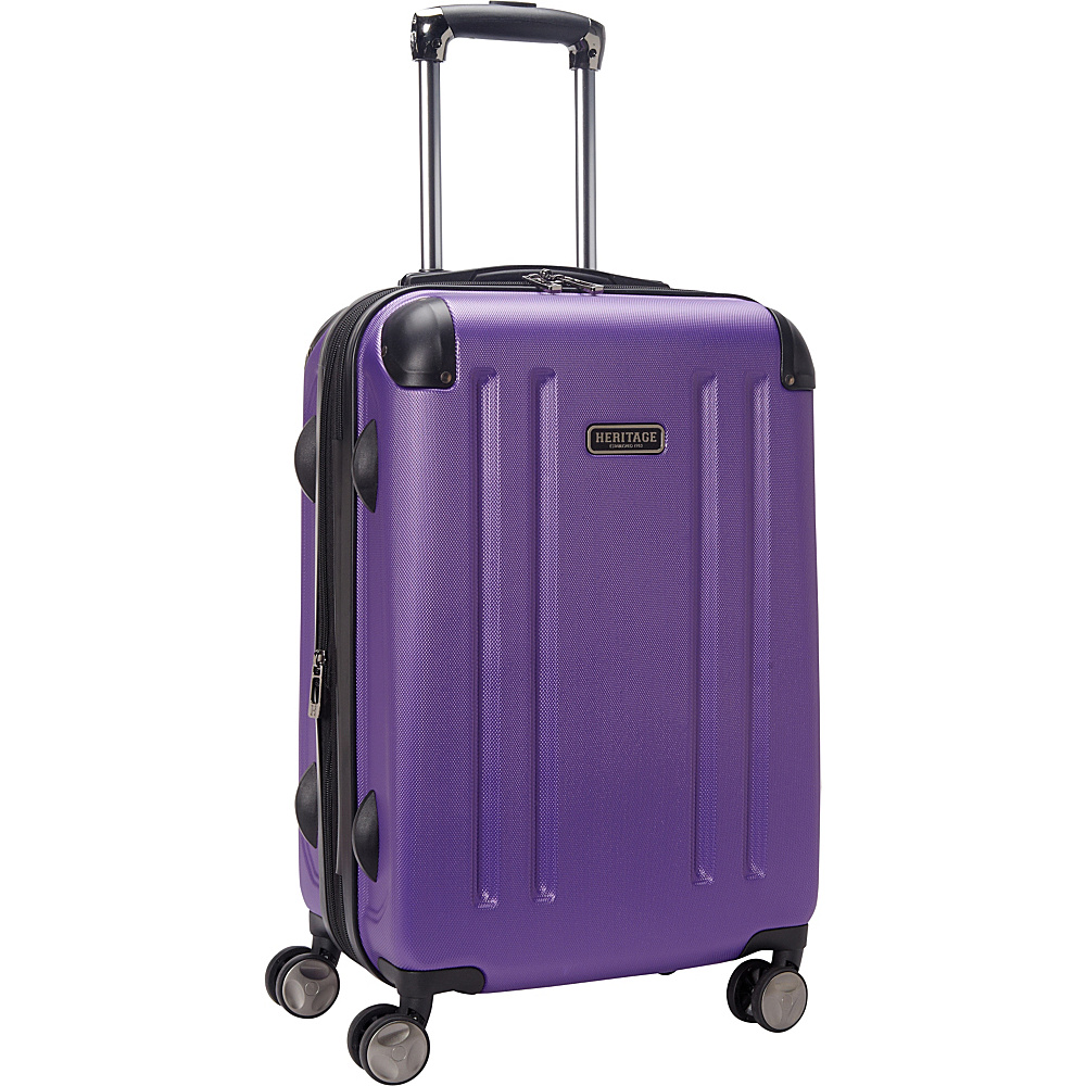 Heritage O Hare 20 Expandable Carry On 8 Wheel Spinner Purple Heritage Hardside Carry On
