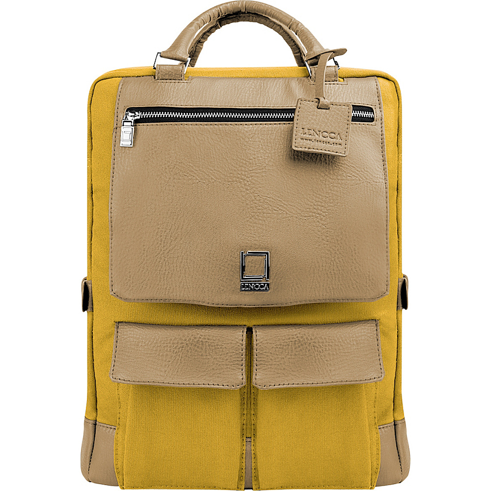 Lencca Alpaque Laptop Traveler s Backpack Mustard Yellow Cool Camel Lencca Business Laptop Backpacks