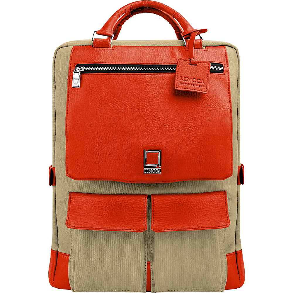 Lencca Alpaque Laptop Traveler s Backpack Raw Beige Orange Lencca Business Laptop Backpacks